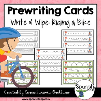 Prewriting Cards - Write & Wipe: Riding a Bike