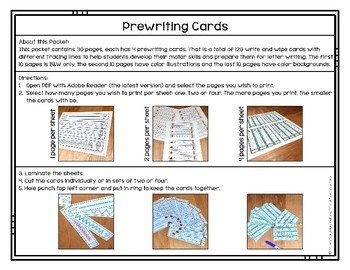 Prewriting Cards - Write & Wipe: Skiing