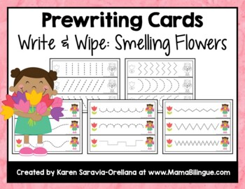 Prewriting Cards - Write & Wipe: Smelling Flowers