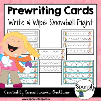 Prewriting Cards - Write & Wipe: Snowball Fight
