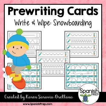 Prewriting Cards - Write & Wipe: Snowboarding