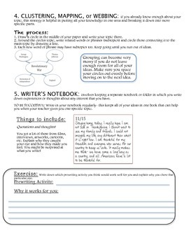 Prewriting Activity- *A fresh look at a writer's options!*