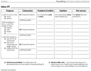 Prewriting: My Ideas Teacher Approval Worksheet - Realistic Fiction, Narrative