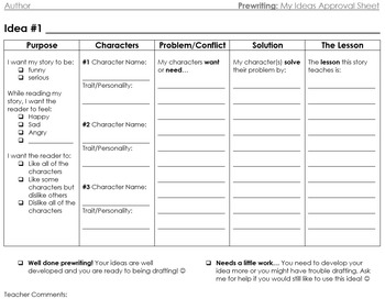 Prewriting: My Ideas Teacher Approval Worksheet - Realisti