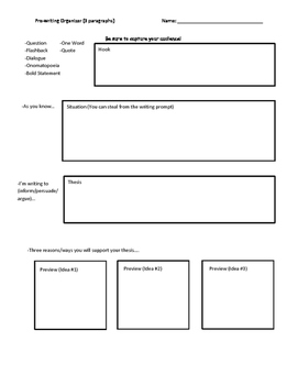 Prewriting Template (3 paragraphs)