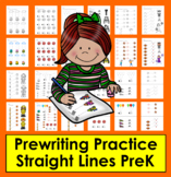 Prewriting Worksheets:  Straight Lines Prewriting Tracing for Preschool