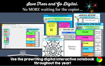 Writing & Prewriting Graphic Organizers: Digital Writing Interactive Notebook