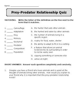 Prey-Predator Relationship Foldable