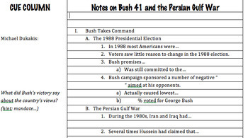 "Prezi Presentation - ""Bush 41 and the End of the Cold"" w/Guided Notes Worksheet"