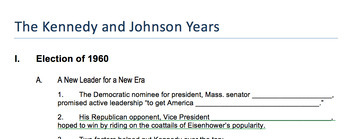 "Prezi Presentation - ""Kennedy & Johnson Administrations"" w/Guided Notes Wksheet"