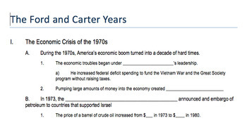 "Prezi Presentation - ""The 1970s - Ford & Carter Years"" w/Guided Notes Worksheet"