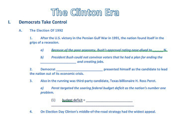 """Prezi Presentation - """"The Clinton Era"""" with Guided Notes Worksheet"""