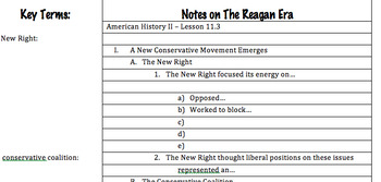 "Prezi Presentation - ""The Reagan Era"" with Guided Notes Worksheet"