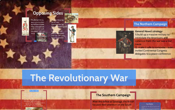 """Prezi Presentation - """"The Revolutionary War"""" with Guided Notes Worksheet"""