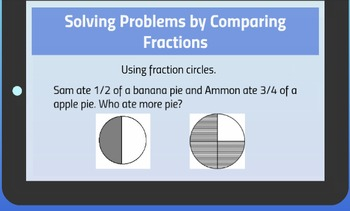 Prezi presentation on how to solve problems by comparing fractions.