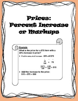 Price Increases or Markups - Calculating with Guidance