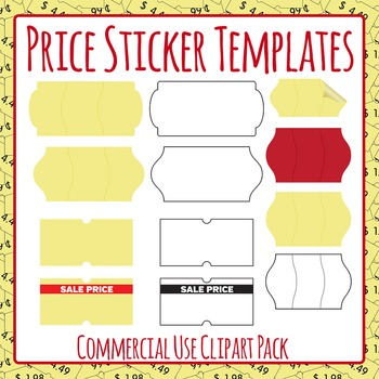 Price Stickers Blank Templates Clip Art for Commercial Use