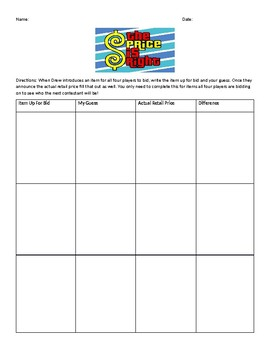 Price is Right Worksheet