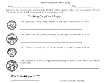 Vocabulary & Sentence Formulation Worksheets