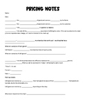 Pricing in Floral Industry note guide and worksheet, Flora