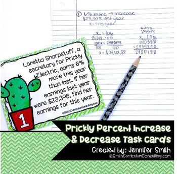 Prickly Percent Increase and Percent Decrease Task Cards | TEKS 7.4d