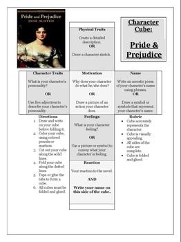 """Pride & Prejudice"" Character Cube Activity"