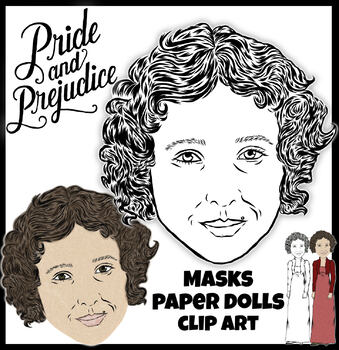 Pride & Prejudice Masks    Austen    Props    Halloween    Paper Doll/Clip Art