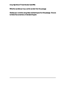 Pride and Prejudice 9th Grade Narrative PBA