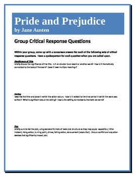 Pride and Prejudice - Austen - Group Critical Response Questions