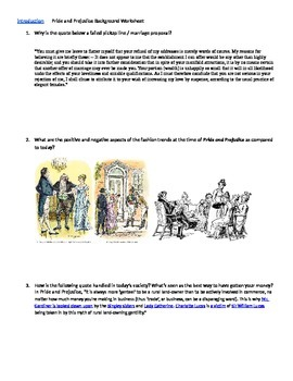 Pride and Prejudice Background Worksheet and Introduction