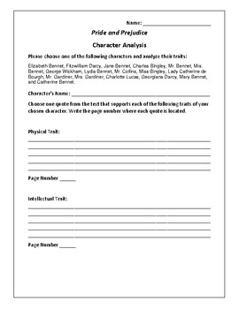 Pride and Prejudice Character Analysis Activity - Jane Austen