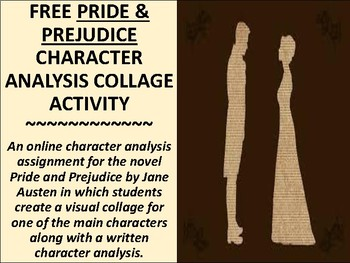 FREE Pride and Prejudice Character Analysis Collage Activity