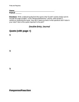 Pride and Prejudice- Double Entry Journal