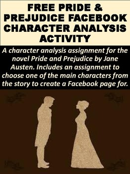 FREE Pride and Prejudice Facebook Character Analysis Activity