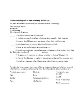 Pride and Prejudice Introductory Activity