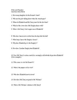 Pride and Prejudice Movie Questions