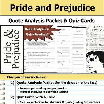 Pride and Prejudice - Quote Analysis & Reading Quizzes