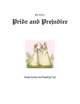 Pride and Prejudice Study Guide and Reading Tests-CCSS