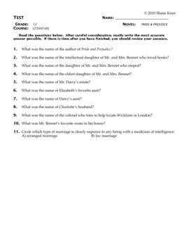 Pride and Prejudice Test Questions