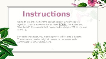 Pride and Prejudice Twitter Assignment Activity