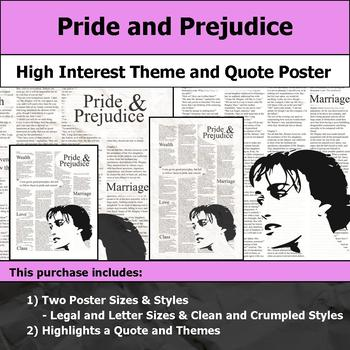 Pride and Prejudice - Visual Theme and Quote Poster for Bulletin Boards