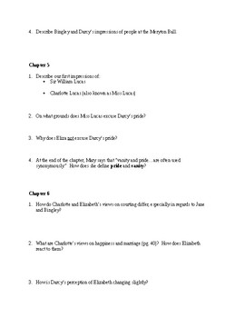 Pride and Prejudice Volume I Guided Reading Questions