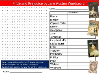Pride and Prejudice Wordsearch Puzzle Sheet Keywords English Literature