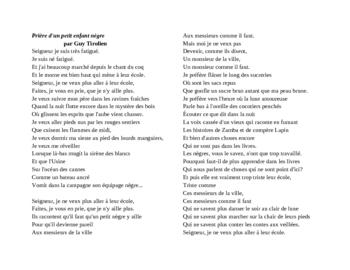 Prière d'un petit enfant nègre poem Negritude lesson
