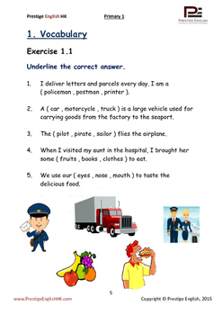 English Exercise Book – Primary 1 SAMPLE ( FREE / FREEBIE )