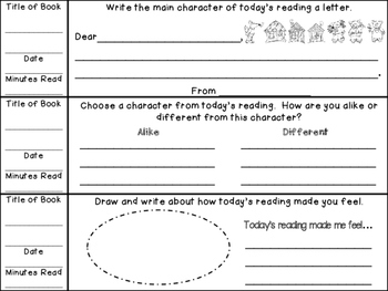 EDITABLE SKILLS BASED Weekly Reading Logs PRIMARY (CCSS RL Question Stems)