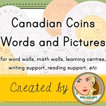 Canadian Coins - Number Sense and Numeration (Word Wall with Pictures)