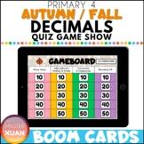 Primary 4 Autumn / Fall Decimals Quiz Game Show Boom Cards