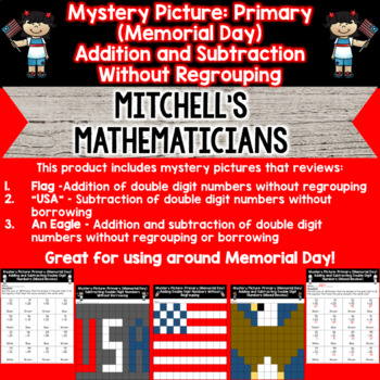 Primary Adding and Subtracting Without Regrouping Memorial Day