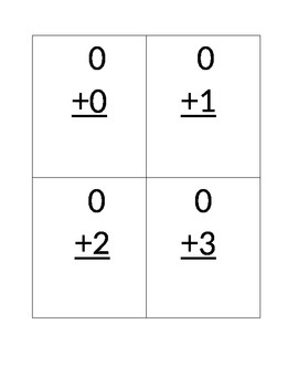Primary Addition Math Fact Cards